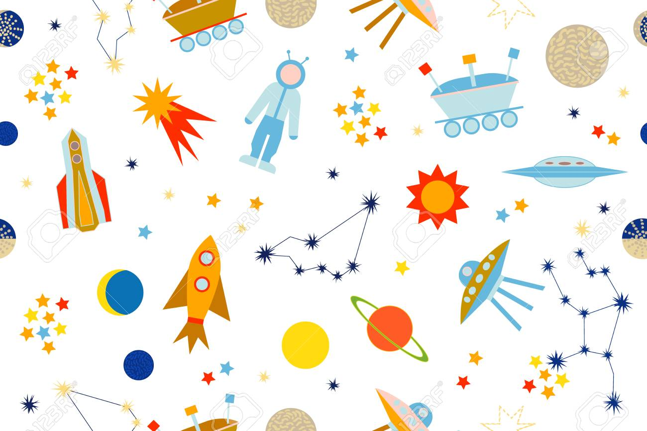 Patrón De Vector Transparente Con Sol, Luna, Planetas, Astronauta ...