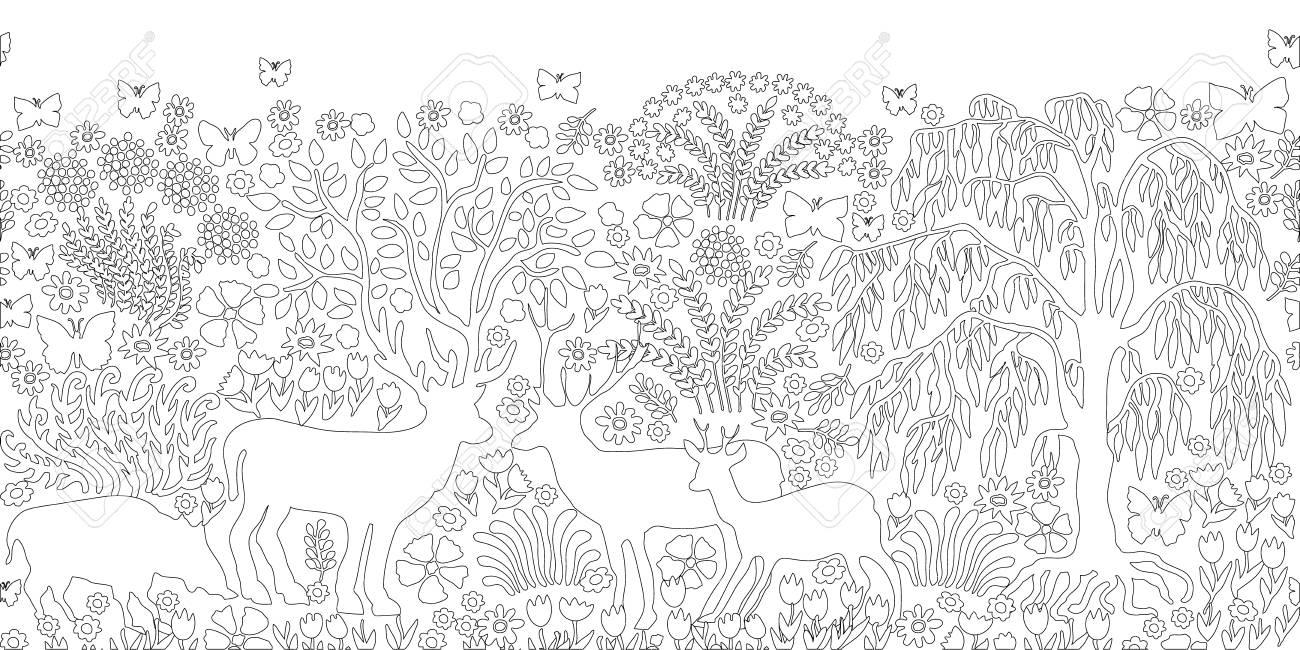 Página Para Colorear En Blanco Y Negro Con Ciervos, árboles Y Flores ...