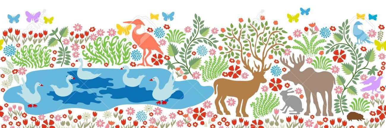 Modèle Sans Couture Pour La Peinture Murale Et Fresque Fantasy Oiseaux Et Animaux Dans La Forêt