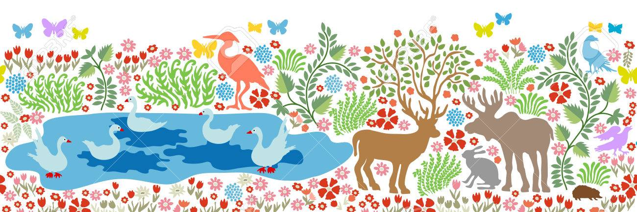 Seamless Pattern For Wall Painting And Fresco Fantasy Birds