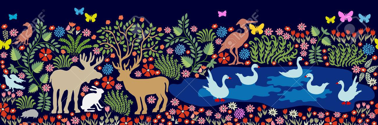 Nahtloses Muster Für Wandmalerei Und Fresko. Fantasievögel Und  Tiere Im  Wald. Hirsche,
