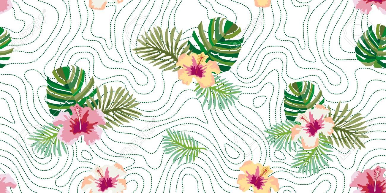 Selva Tropical Brasileña. Patrón Transparente De Vector Con Hojas De ...