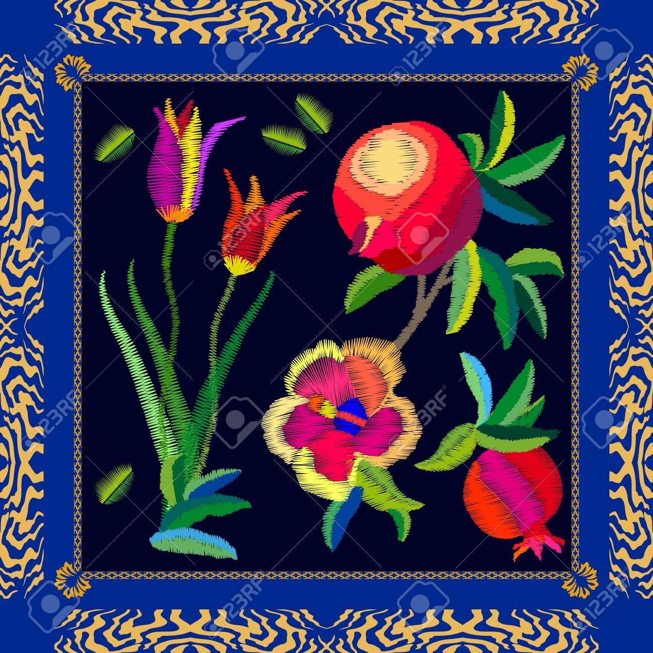 Indigo Blue Peony Scarf Tulip