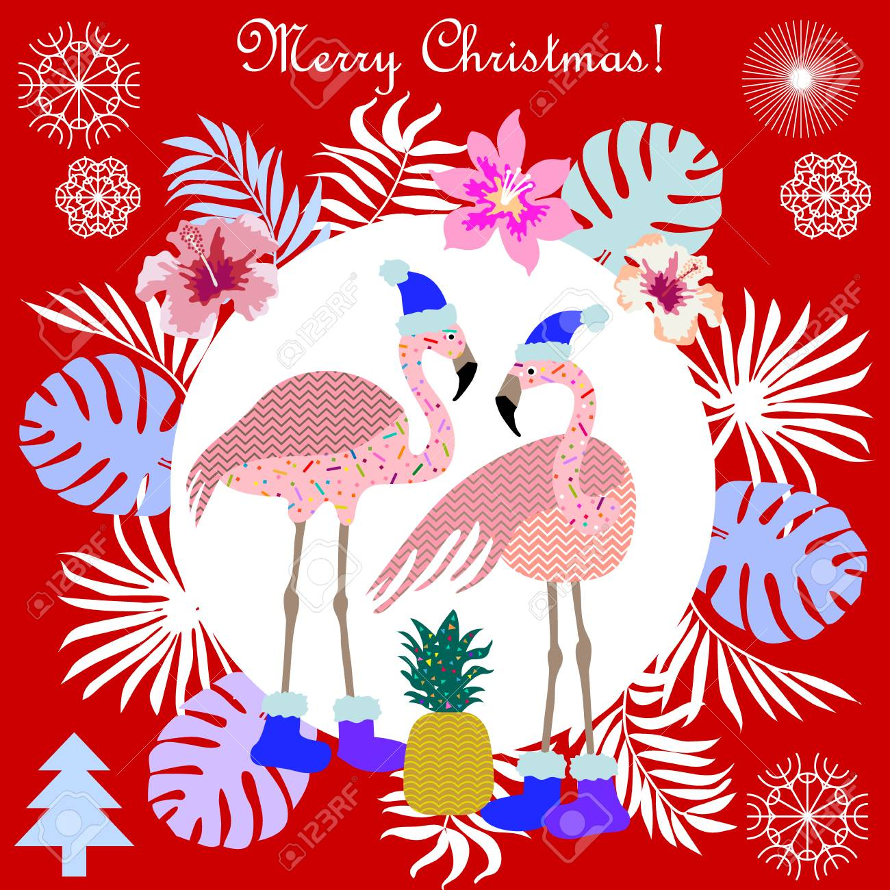 Flamingo, Palm Leaves And Snowflakes. Template For Cards And ...