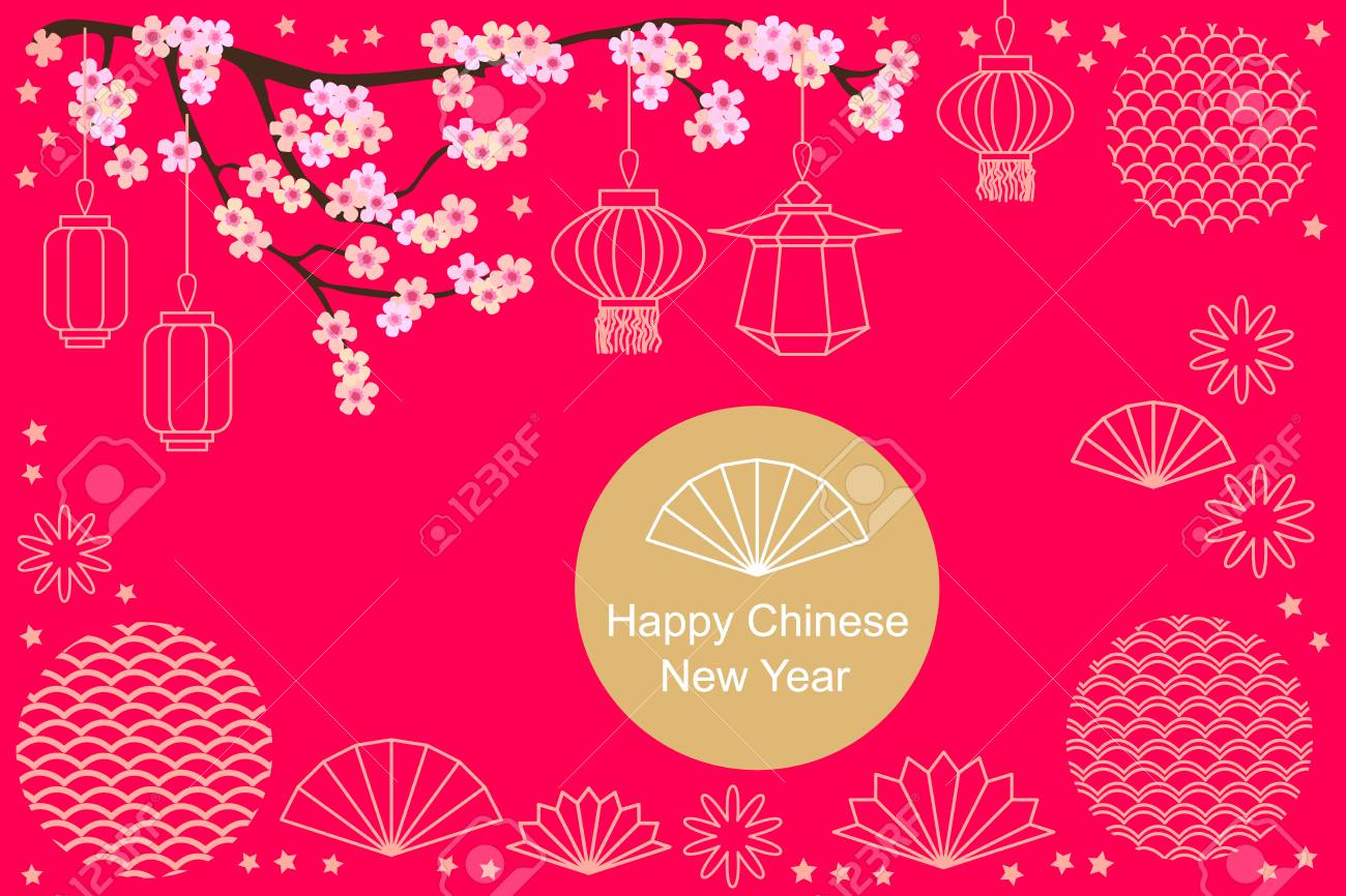 template for banners posters party invitations calendars happy chinese new year