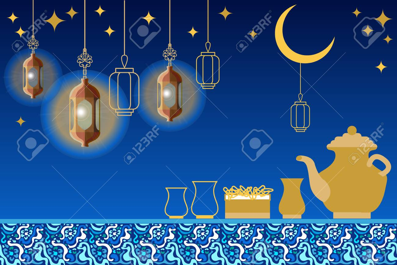 Template For Ramadan Kareem Greeting Cards Covers Banners