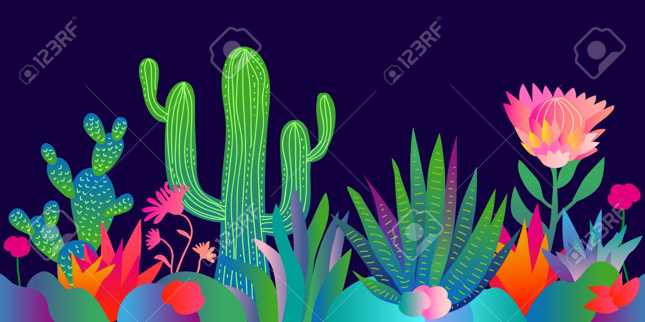 Colorful Pattern With Abstract Cacti Lotus Flowers Palm Trees