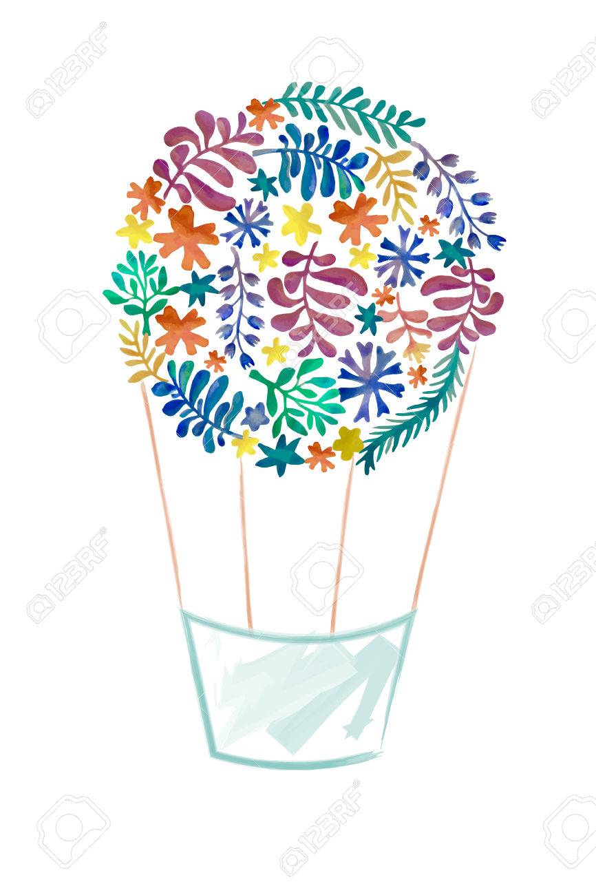watercolor floral collection awesome flower air balloon template