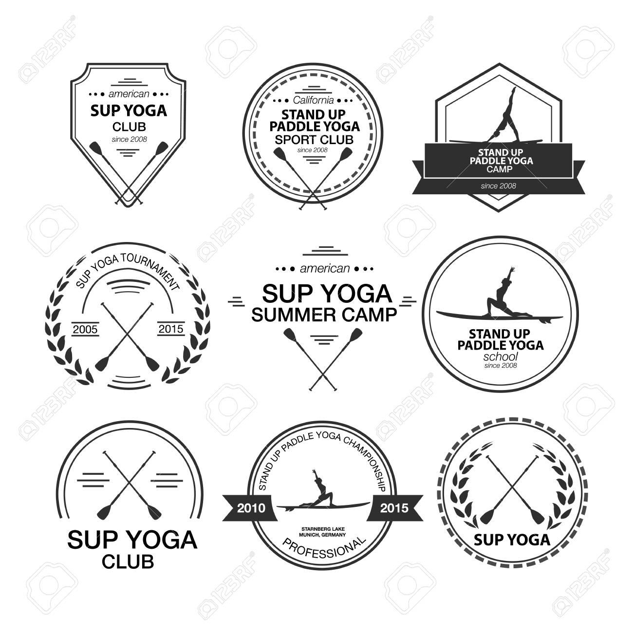 Set Aus Verschiedenen Vorlagen Für Stand Up Paddle Yoga. Sportlich ...