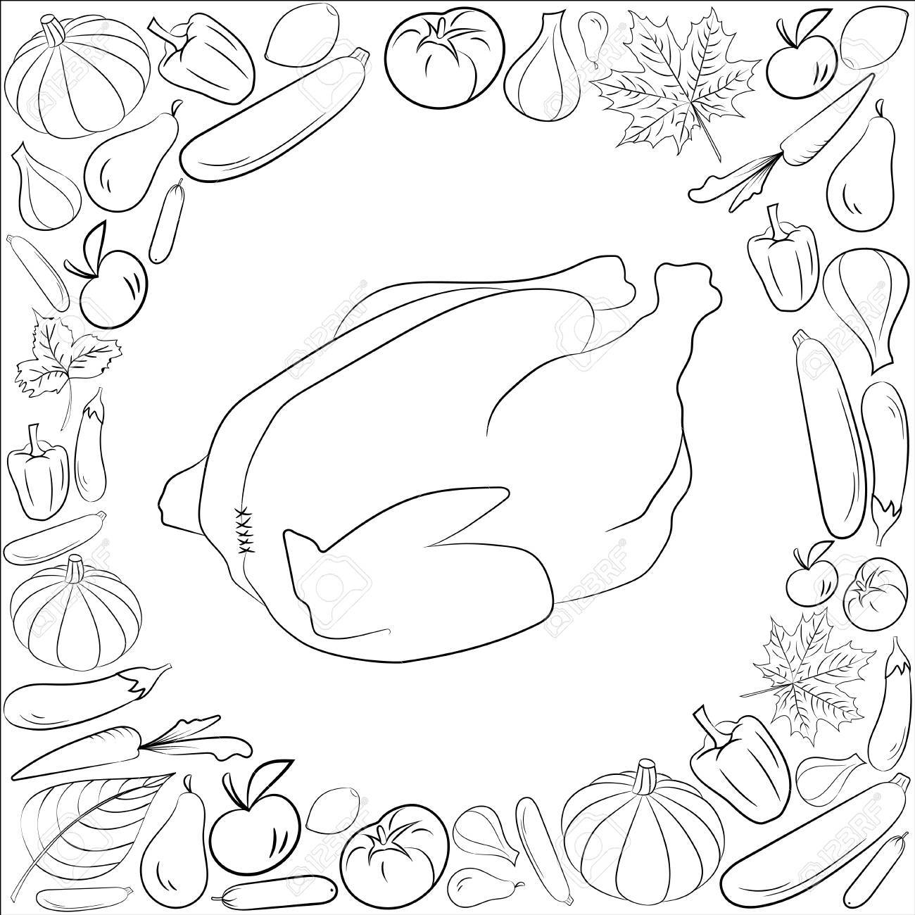 Otoño Tarjeta Gráfica Con Pavo Frutas Y Verduras En Colores Blanco Y Negro Vector De Acción De Gracias Día Diseño Diseño De Páginas De Libro