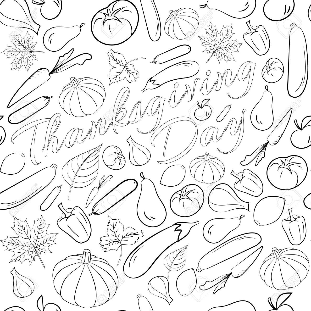 Otoño Gráfico De Patrones Sin Fisuras Con Frutas Y Verduras En Colores Blanco Y Negro Diseño Del Día De Acción De Gracias Del Vector Diseño De