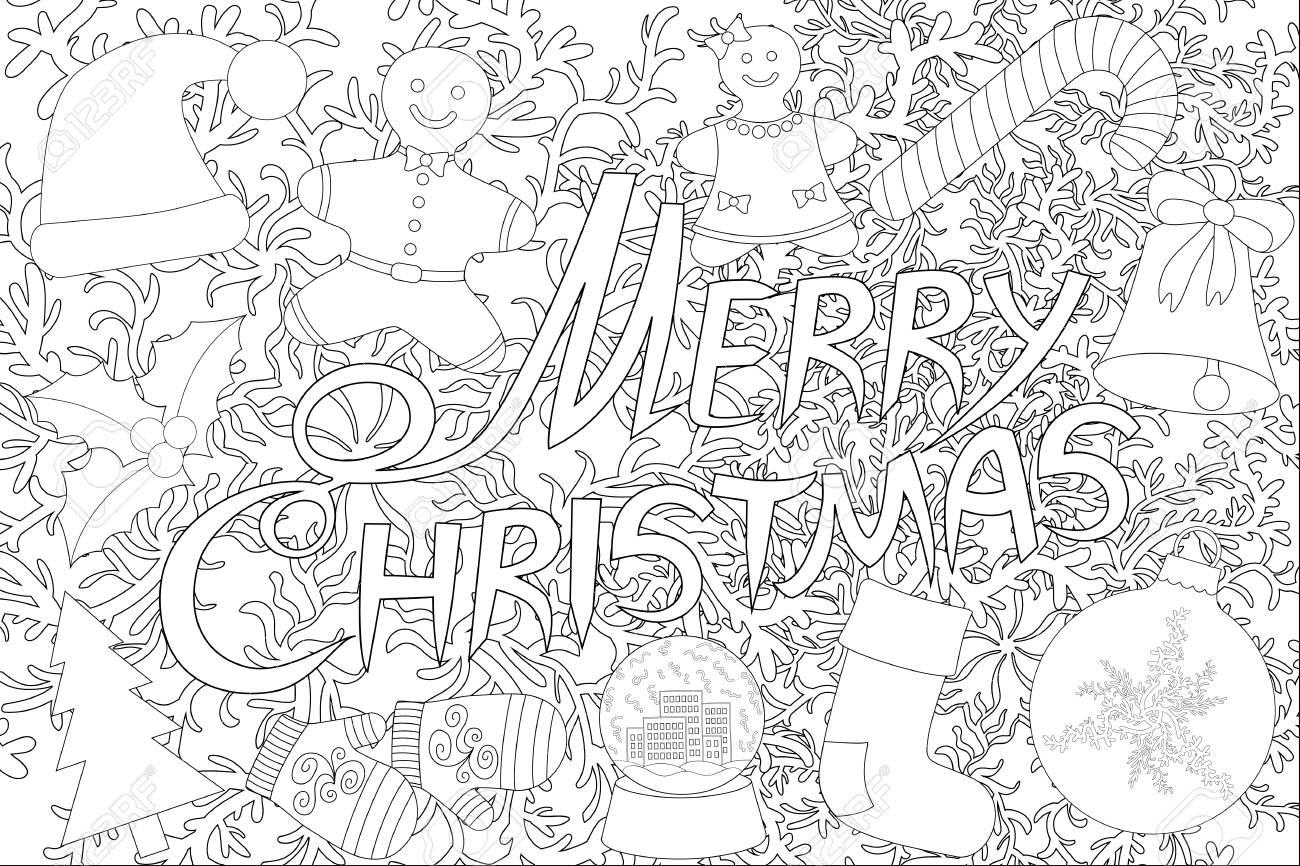 レタリング デザインのメリー クリスマス塗り絵の白い背景で隔離の