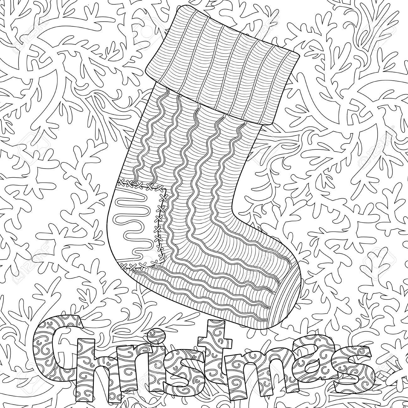 Modèle De Noël Pour Adulte Livre De Coloriage Carte De Voeux Art