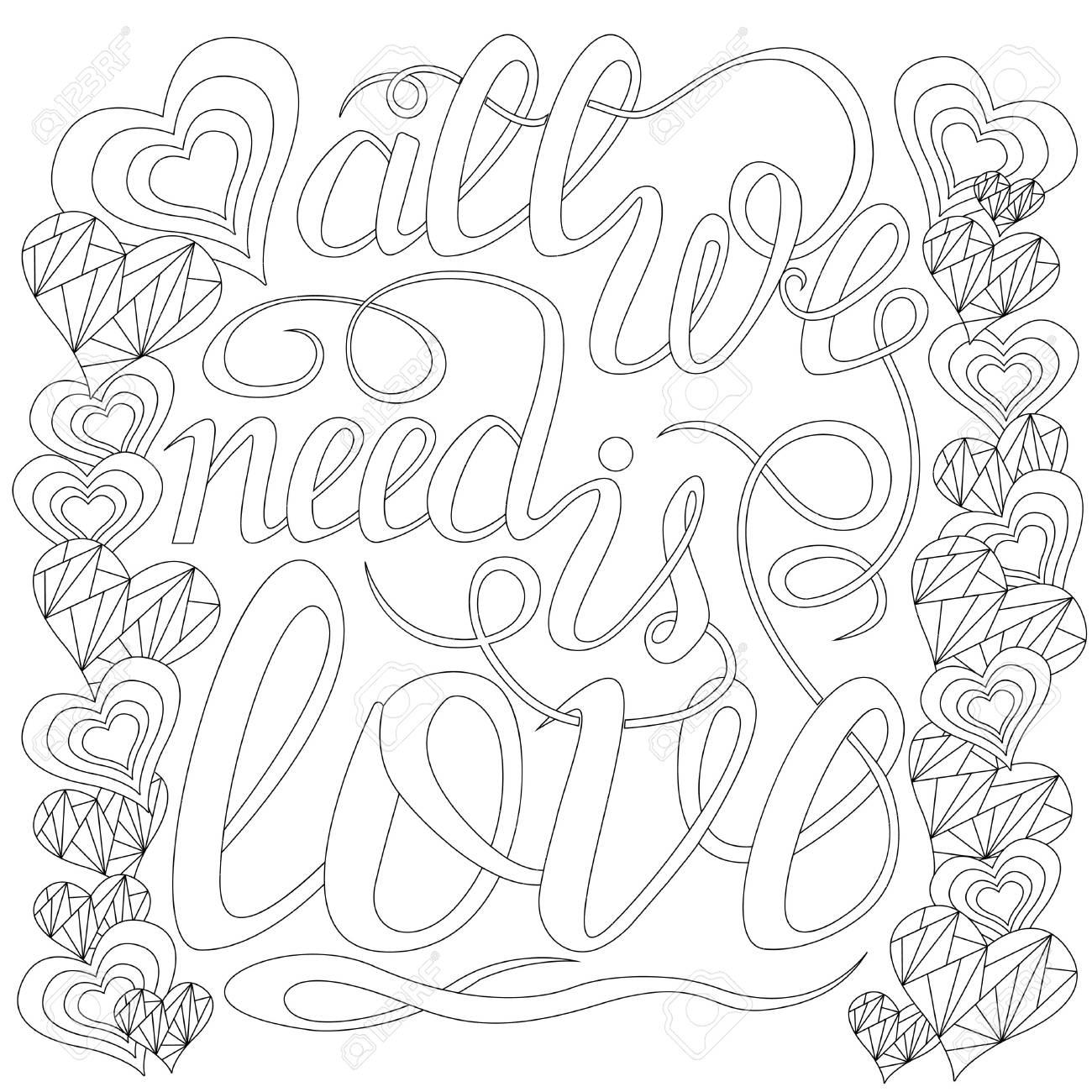 Lettering Always Elementos De Design Para Livro De Colorir Adulto Estrutura De Tópicos Ilustração Vetorial