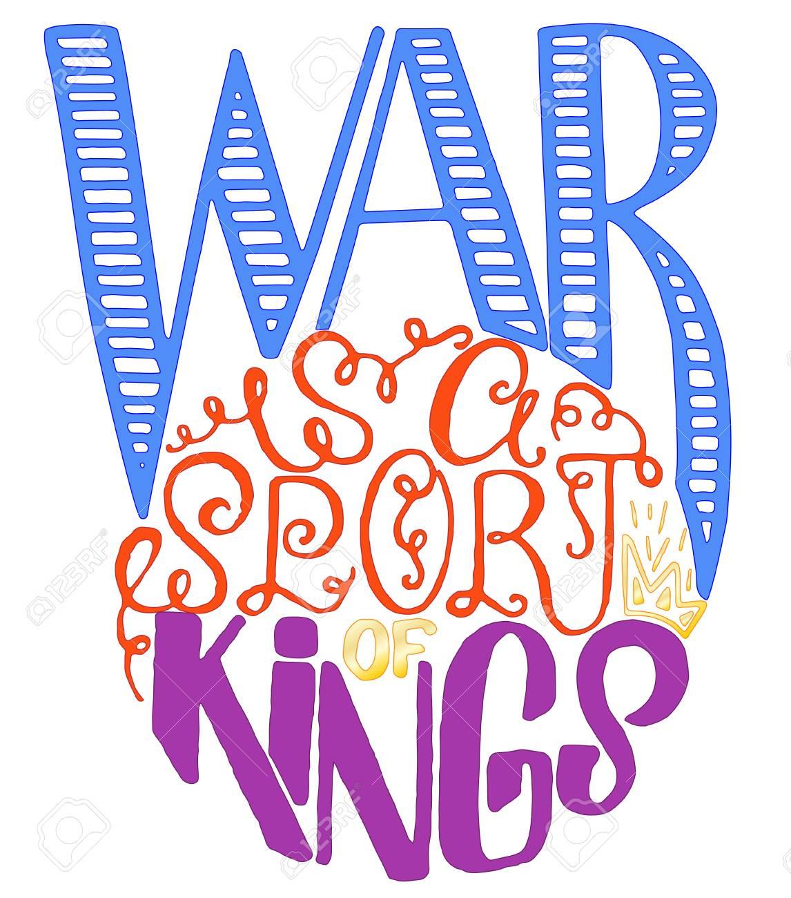 Cartaz De Citações De Motivação Esportiva A Guerra é Um Esporte De Reis Bandeira Inspiradora De Ginástica Com Texto E Frase De Desenho Manual