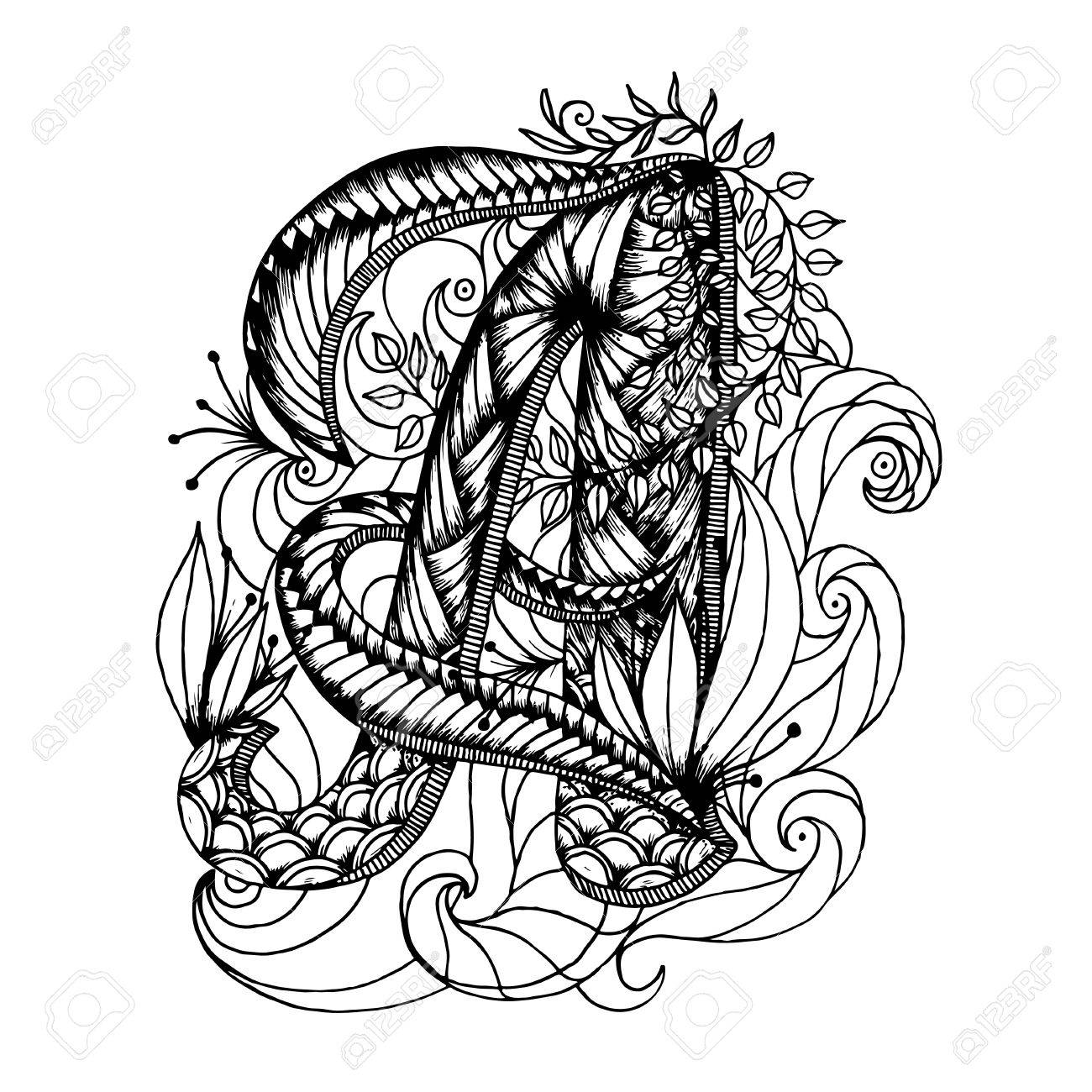 Adult Coloring Page With A Letter Of The Alphabet Royalty Free
