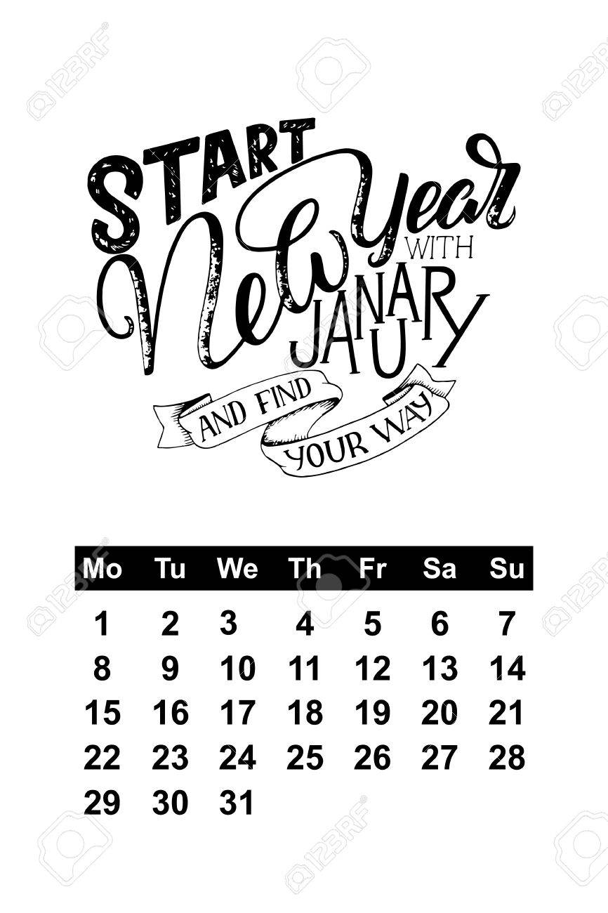 Quotes January Calendar For January 2018 With Hand Drawn Lettering Quotes Royalty