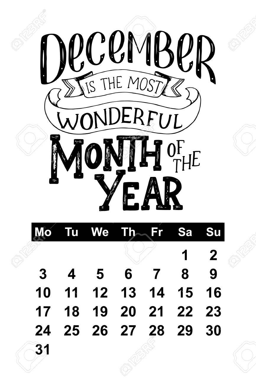 calendar for hand drawn lettering quotes