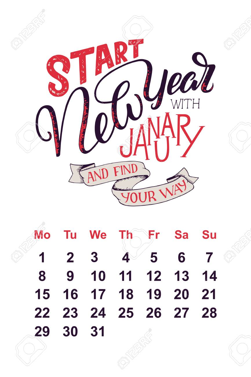 Vector Calendar For January 2 0 1 8 Hand Drawn Lettering Quotes
