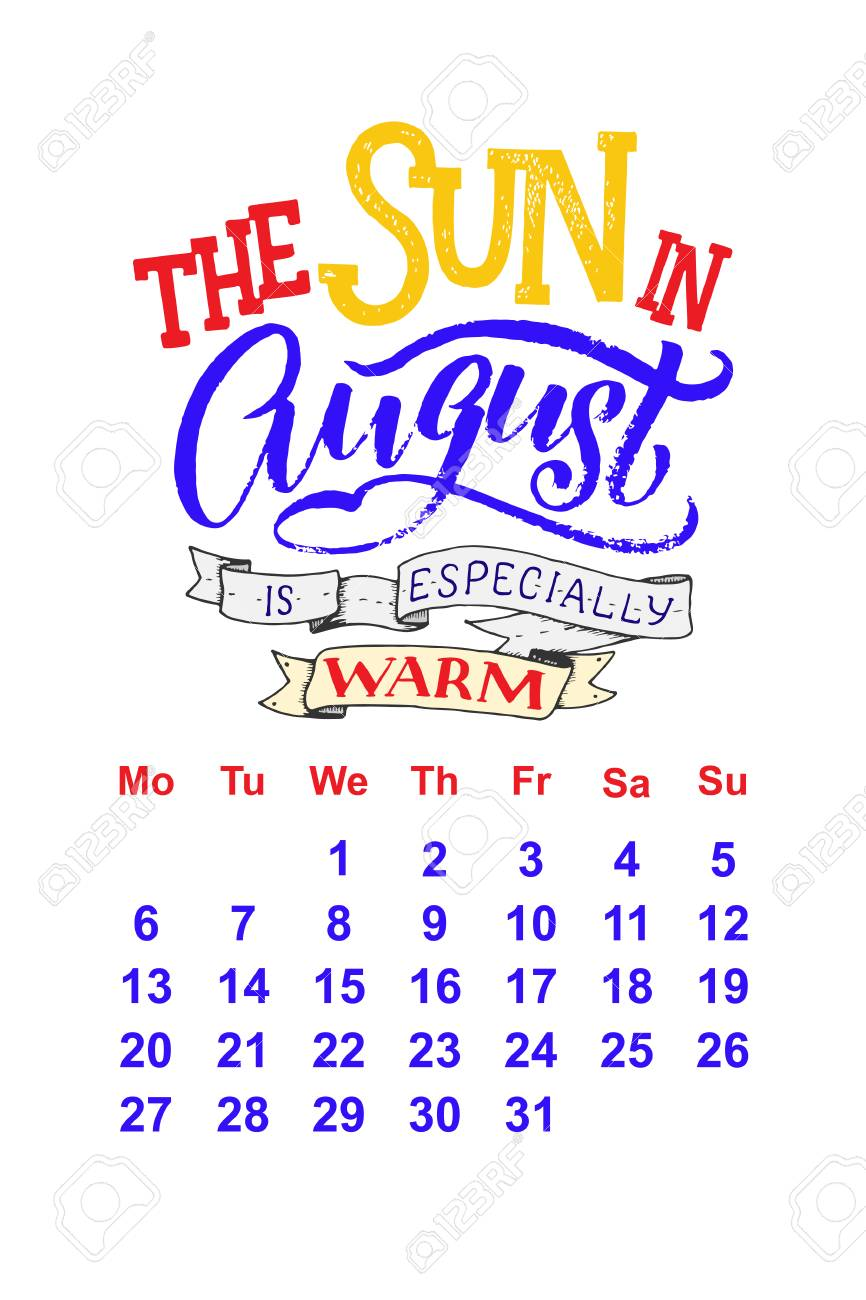 Vector calendar for August 2 0 1 8  Hand drawn lettering quotes