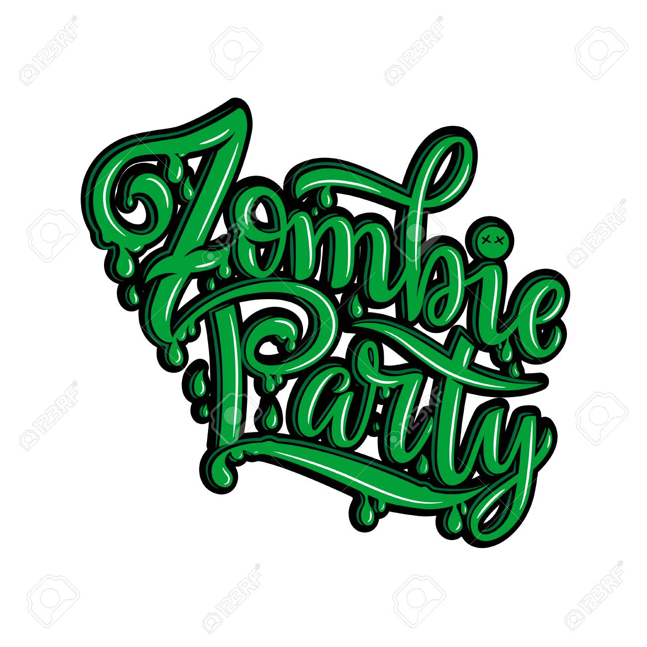 Vector Illustration Of Zombie Party Text For Party Invitation ...
