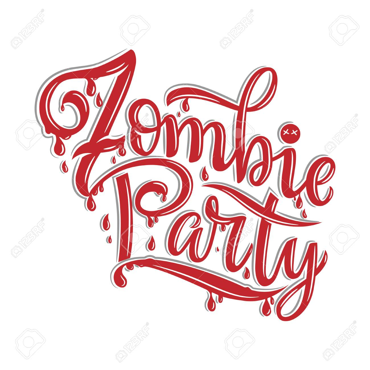 Vector Illustration Of Zombie Party Text For Party Invitation