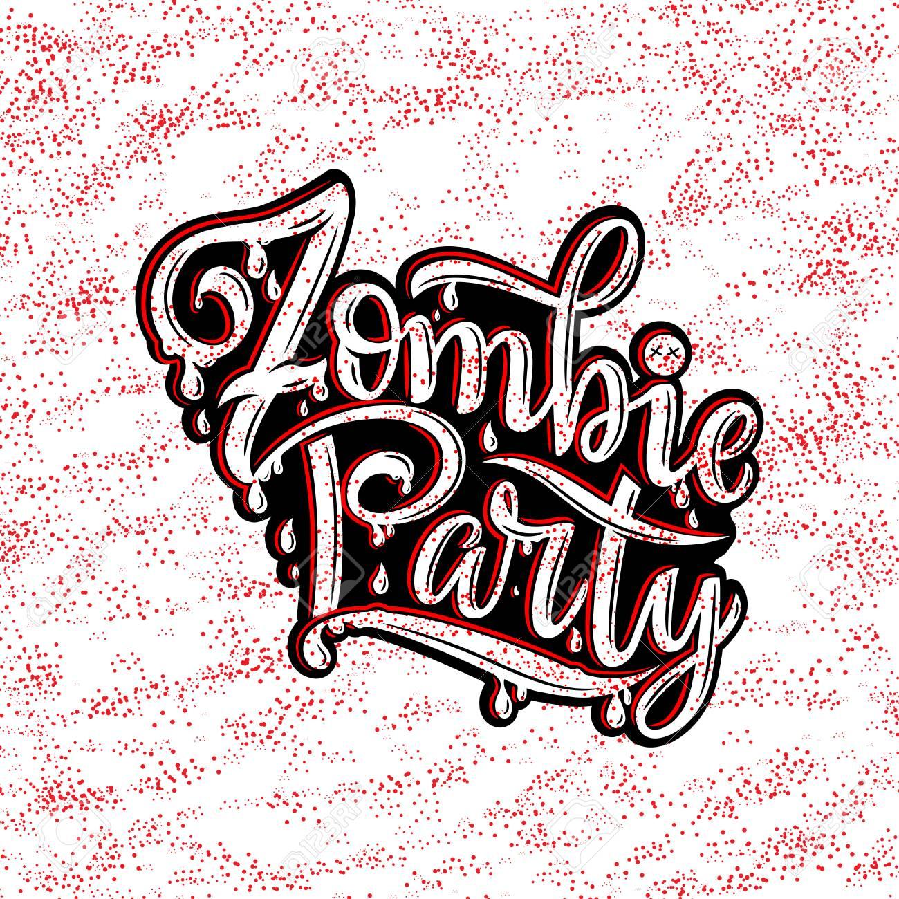 Ilustración Del Vector Del Texto Del Partido Del Zombi Para La Invitación Del Partido Tarjeta De Felicitación Bandera Cartel De Fiesta De Zombie De
