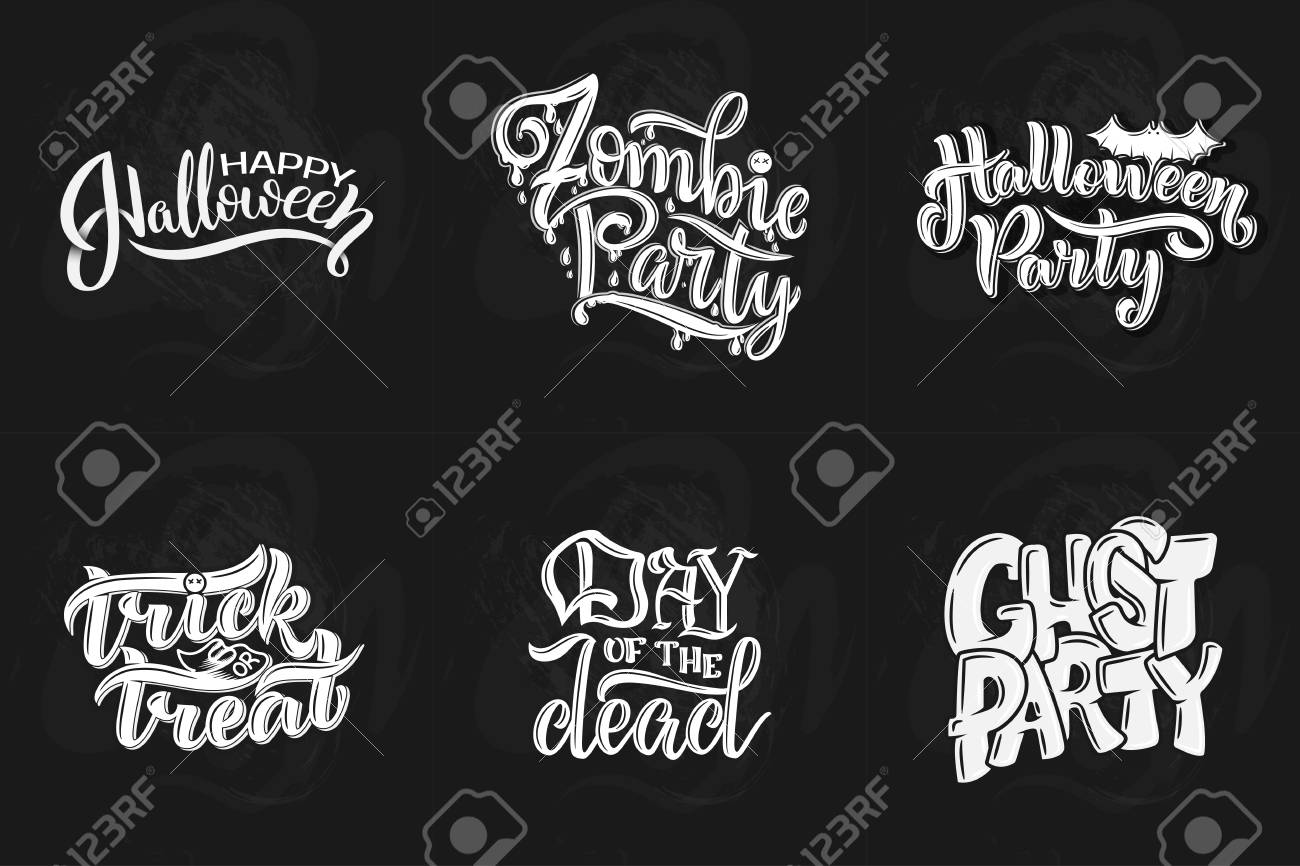 Set With Phrase For Halloween Vector Lettering Holiday Calligraphy