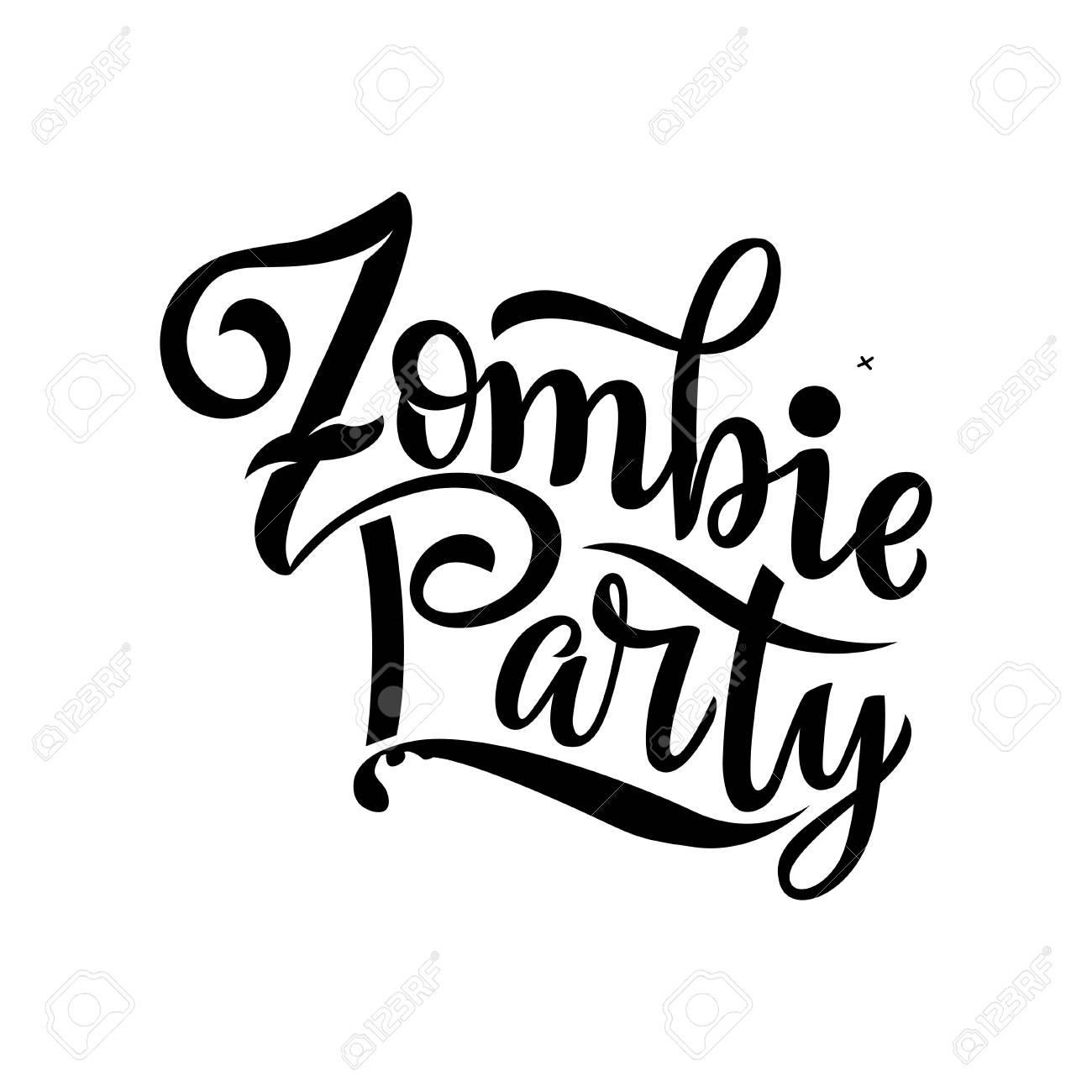 Ilustración De Vector De Texto De La Fiesta Zombie Para La Invitación Del Partido Tarjeta De Felicitación Banner Cartel De Fiesta De Zombie De