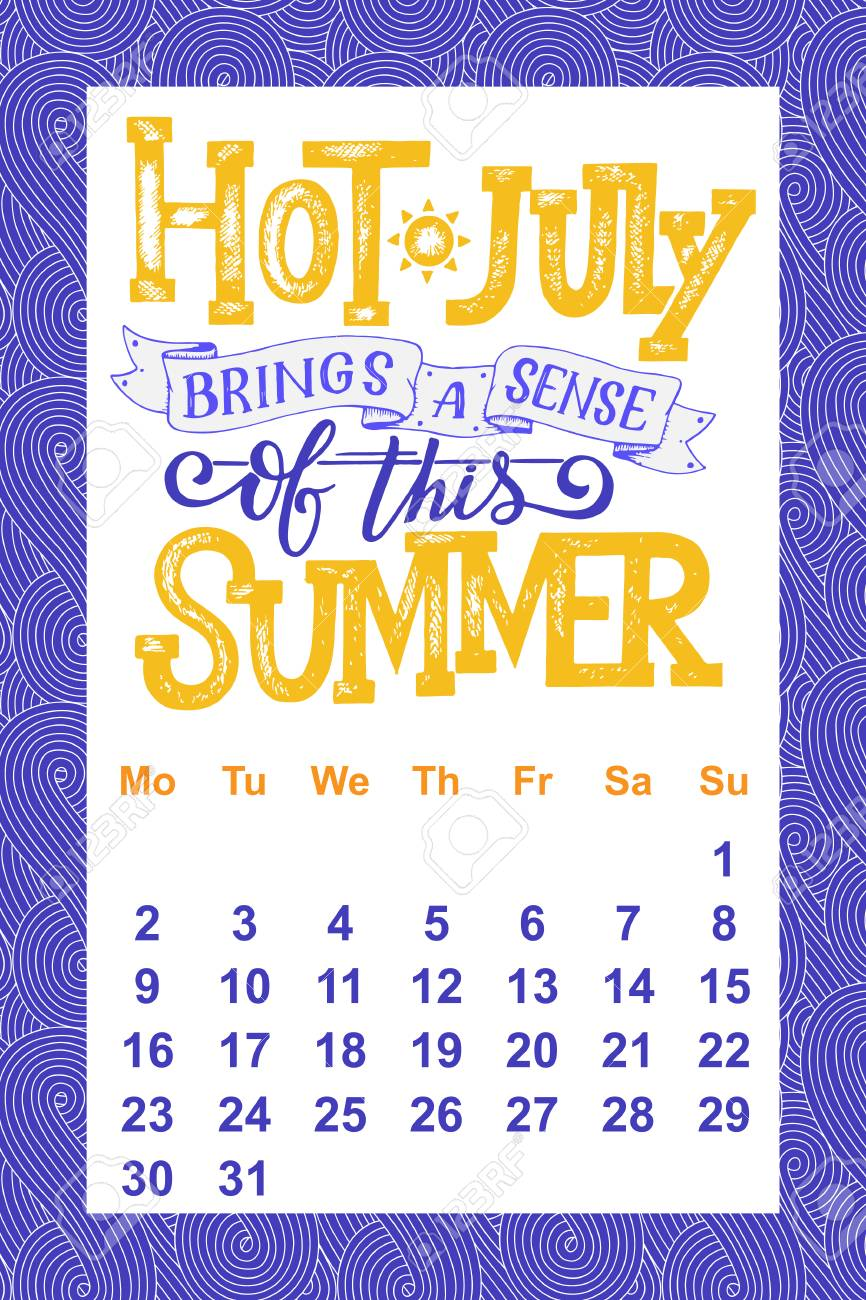 Hand Drawn Lettering Quotes For Calendar Design Royalty Free
