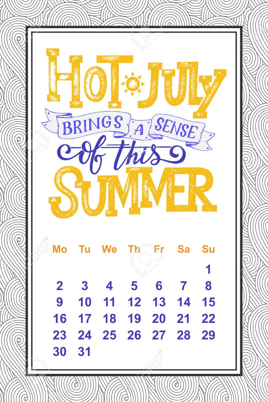 Vector Calendar For Months 2018 Hand Drawn Lettering Quotes