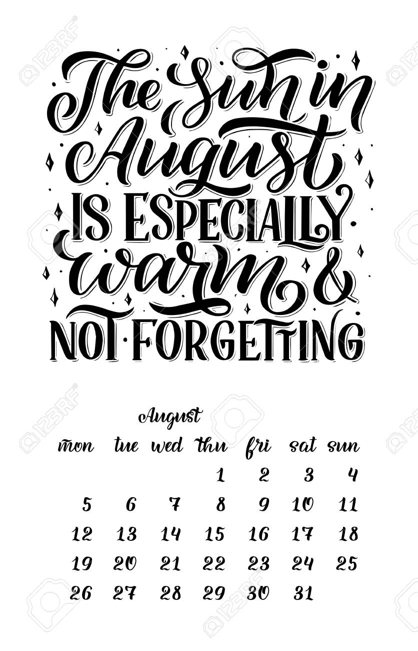 Quotes For   Calendar For Month 2 0 1 9 Hand Drawn Lettering Quotes For Calendar