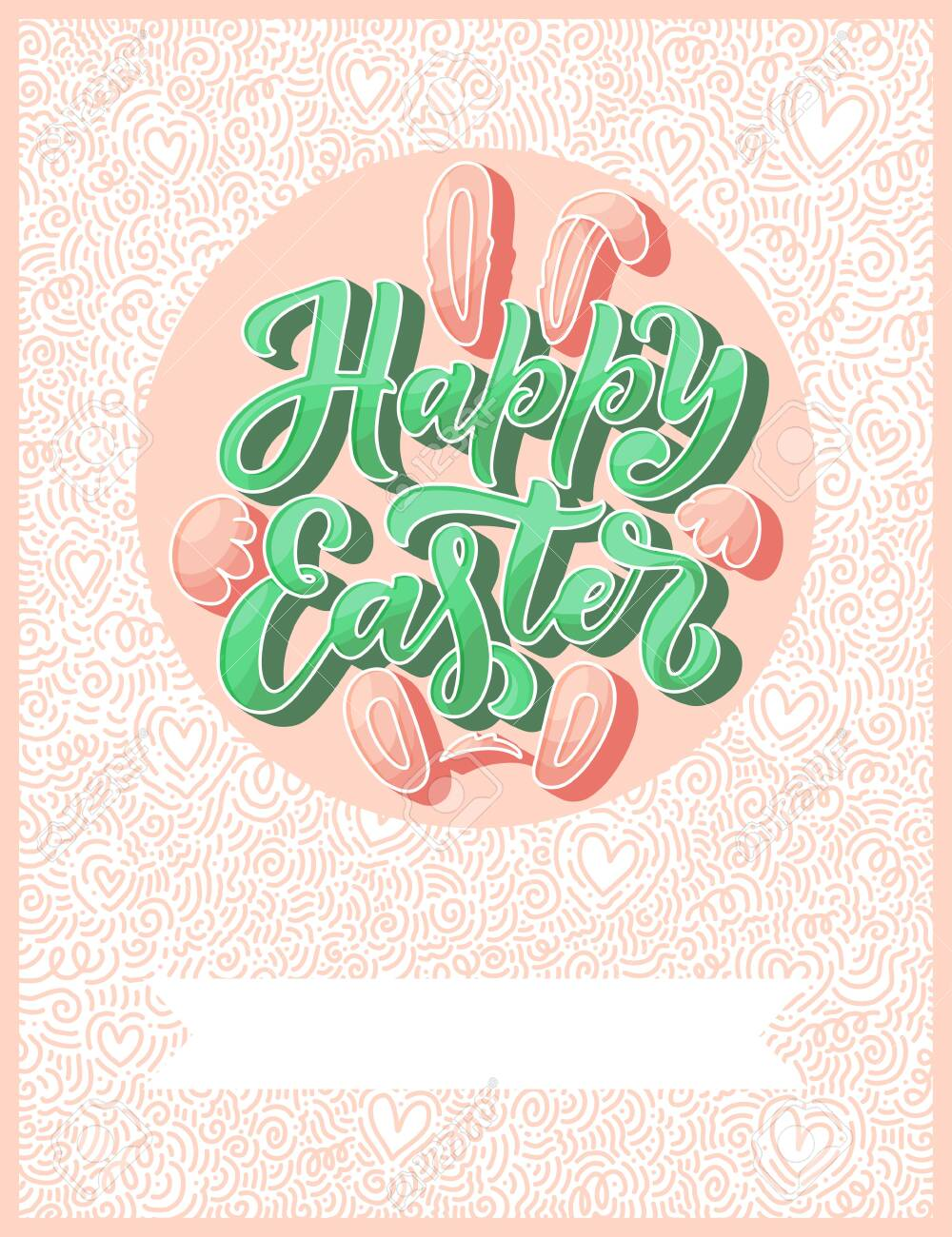 Calligraphy lettering for flyer design - Happy easter. Abstract vector illustration. Template banner, poster, greeting postcard. - 123642586
