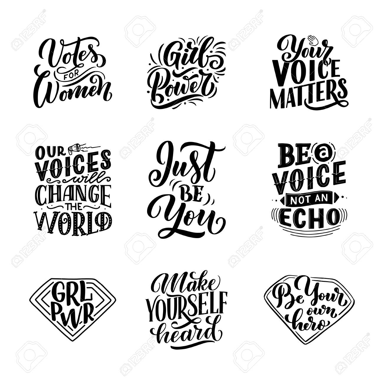 Set of lettering quotes about woman voice and girl power. Calligraphy..
