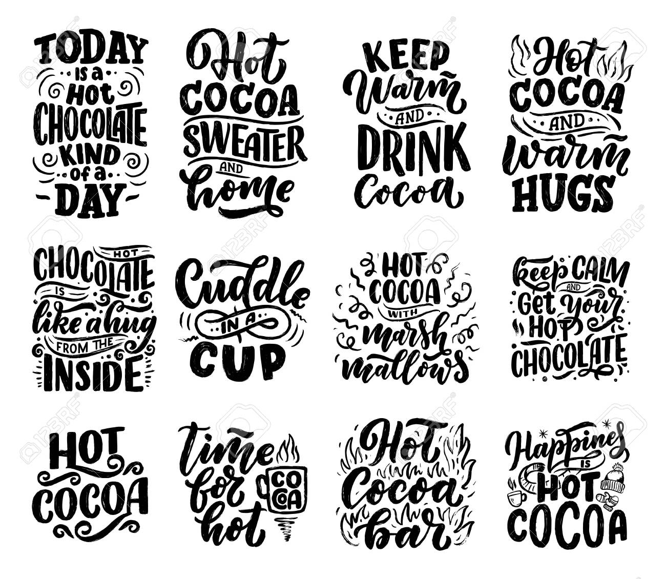 Set with lettering quotes about hot cocoa and hot chocolate for posters or prints. Hand drawn Christmas signs for cafe, bar and restaurant. Vector illustration - 132437582
