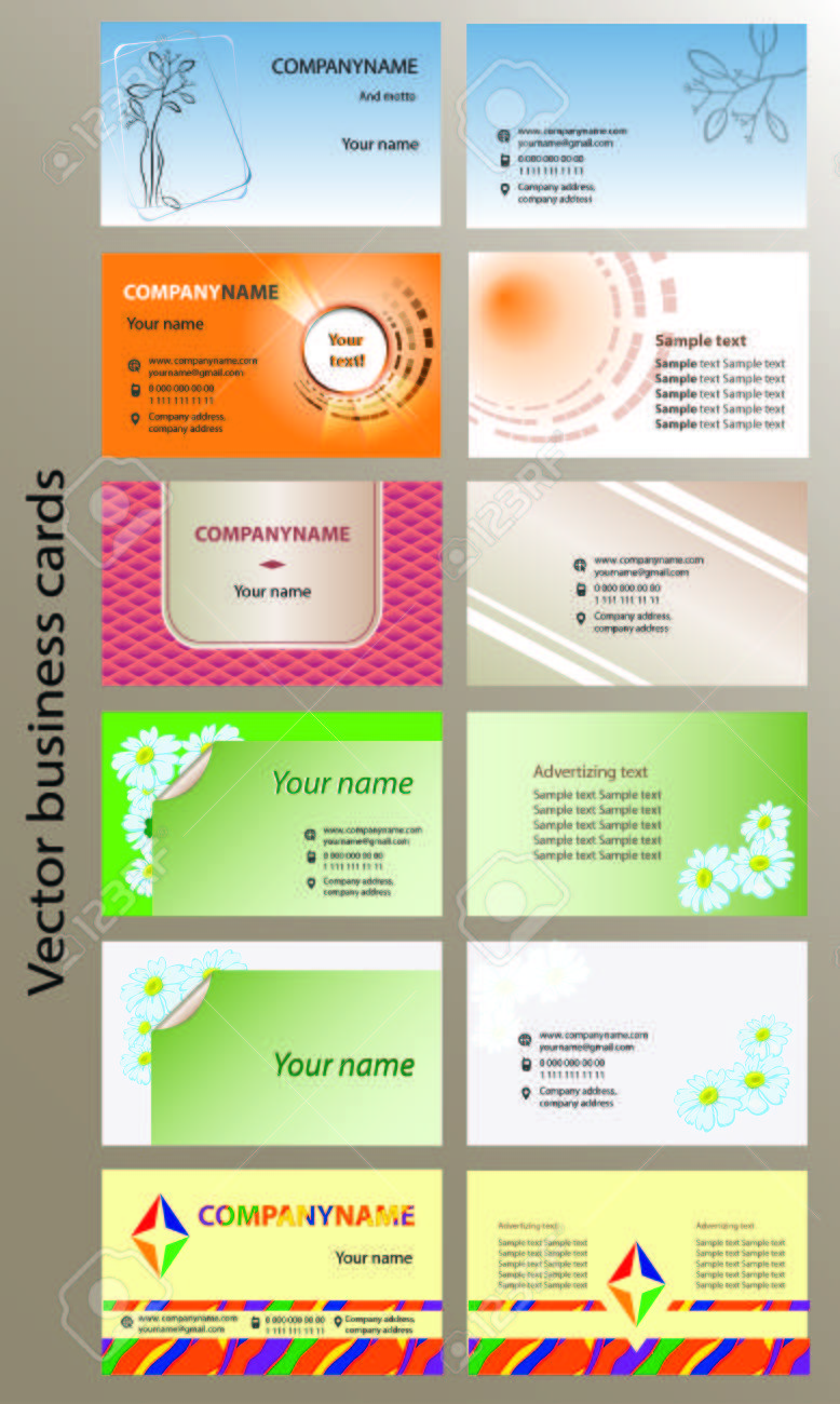 Set Of Bilateral Horizontal Vector Business Cards Templates ...