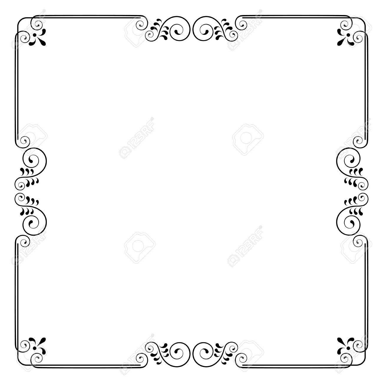 decorative square frame with swirls and leaves without background