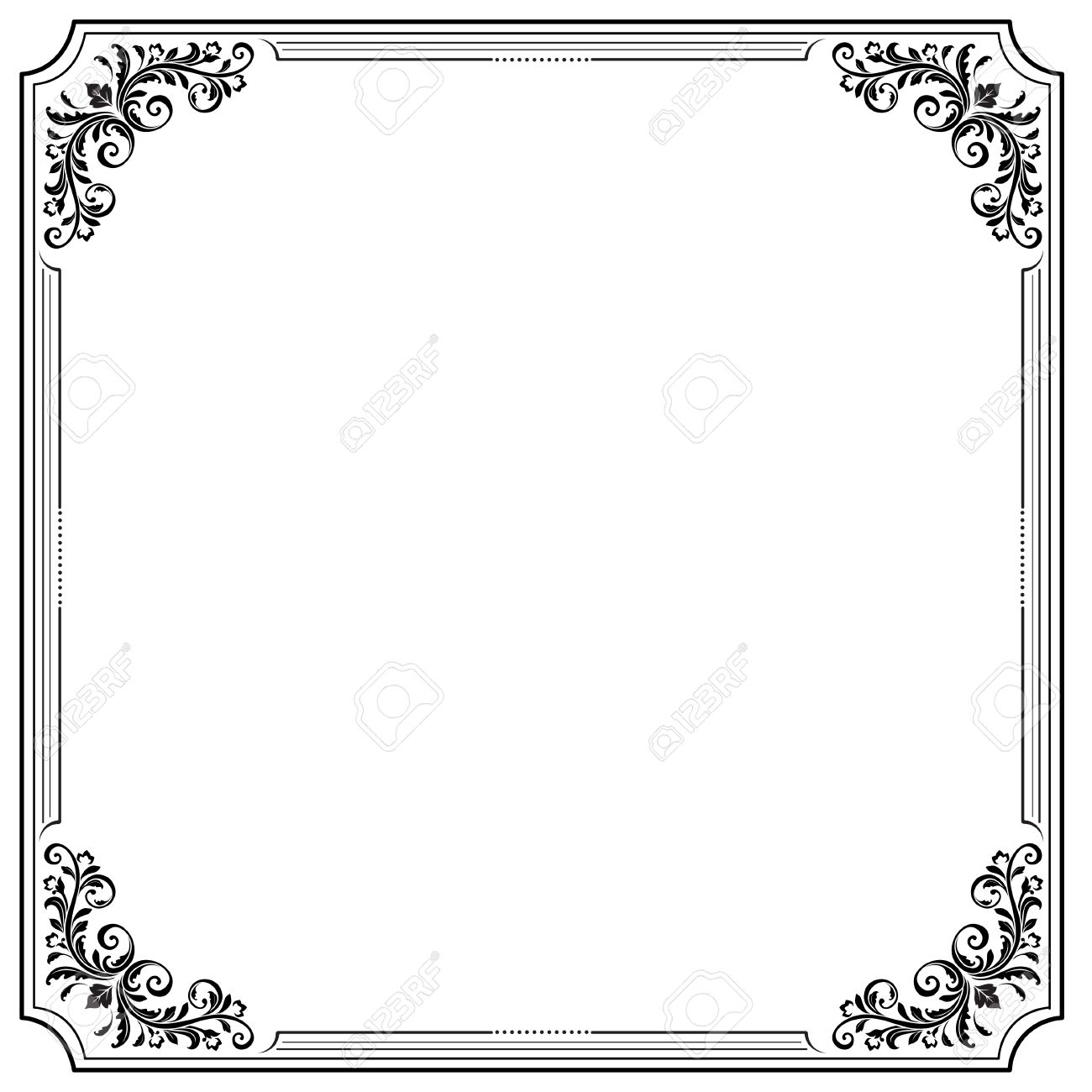 black square decorative frame with vignettes letter page format