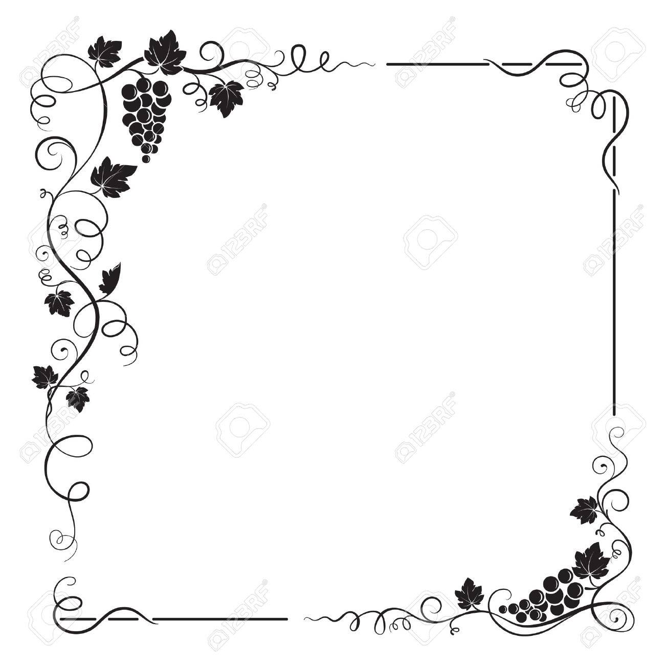 decorative black square frame with bunch of grapes grape leaves
