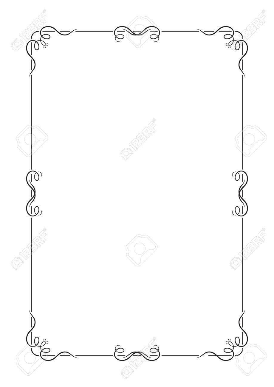 Schwarzer Rahmen Mit Wirbelt, Seite Dekoration, A4. Lizenzfrei ...