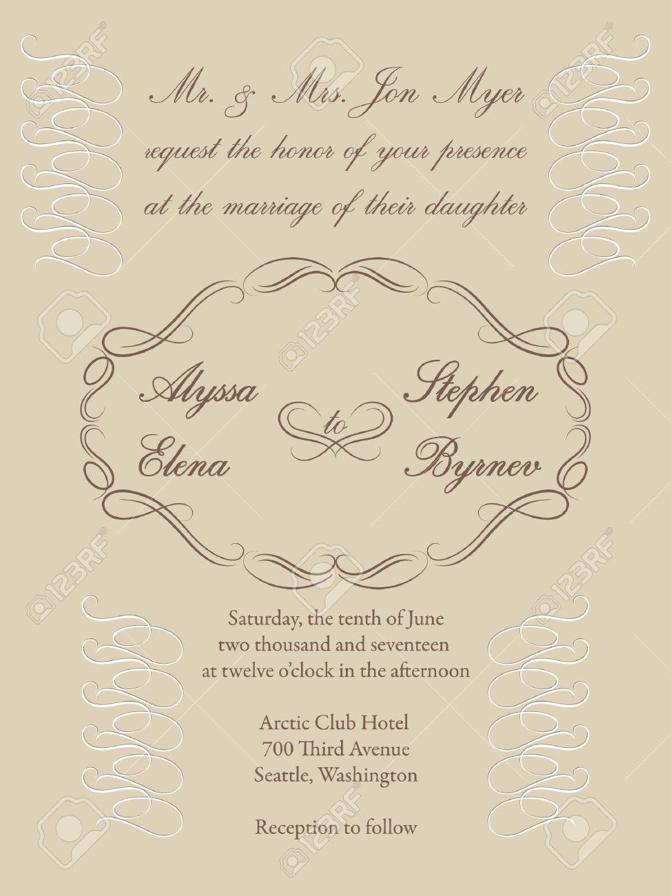 Vignette Frame On A Cream Background For A Formal Wedding Invitation ...