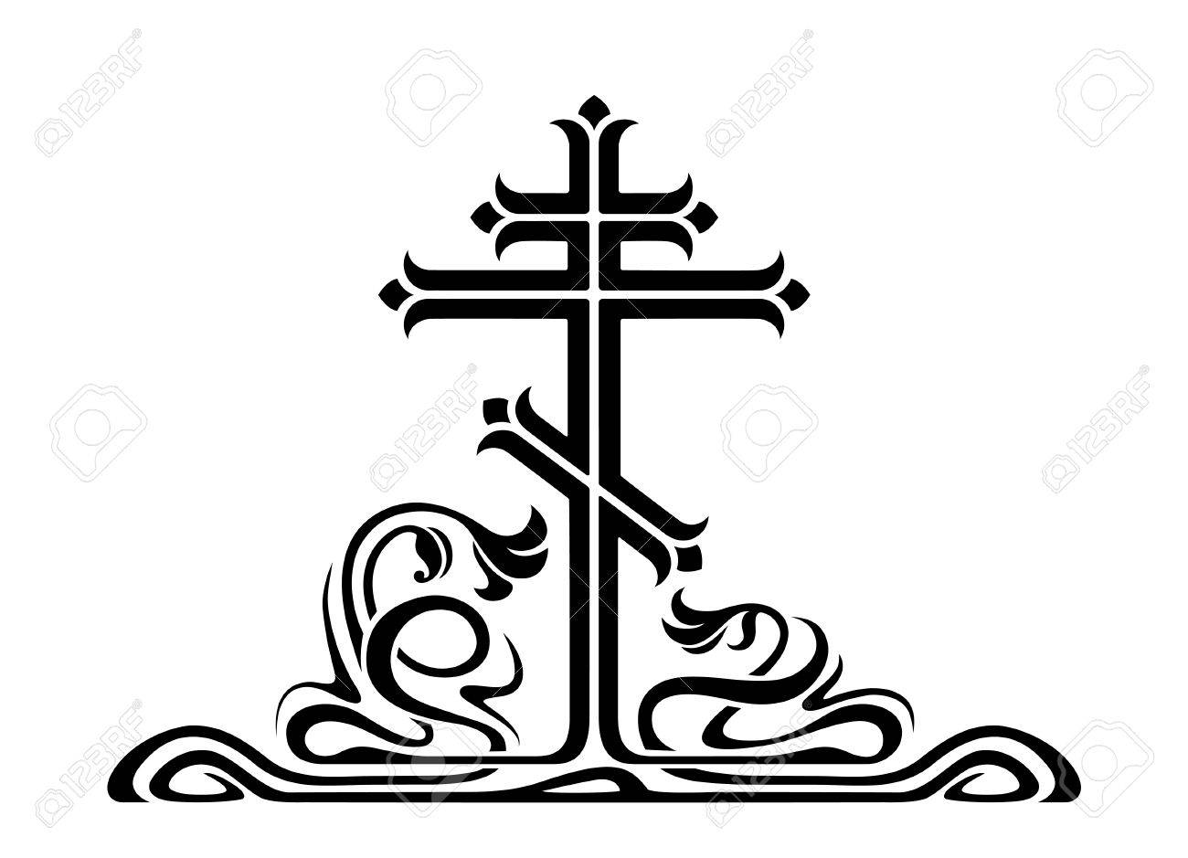 orthodox cross crucifix with decorative elements art nouveau rh 123rf com orthodox clip art oca orthodox christmas clipart