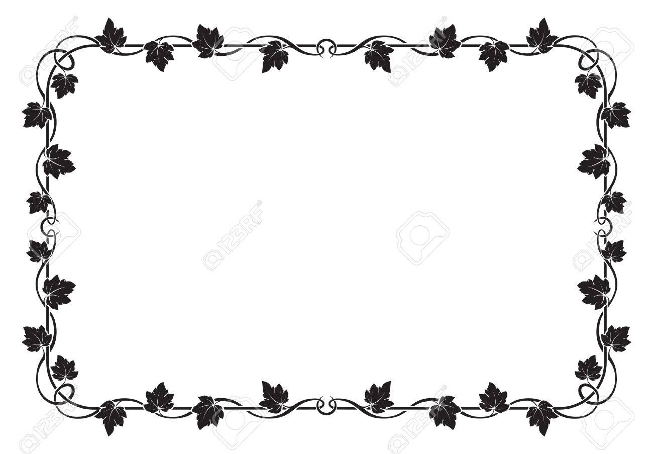 Decorative Black Rectangular Frame With Grape Leaves. Royalty Free ...