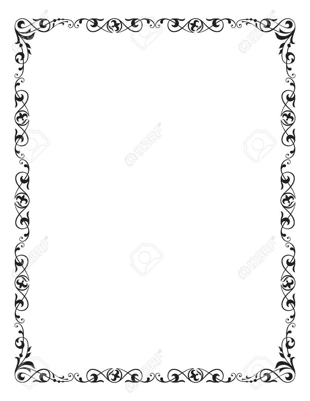 decorative frame corner vignette letter page size royalty free