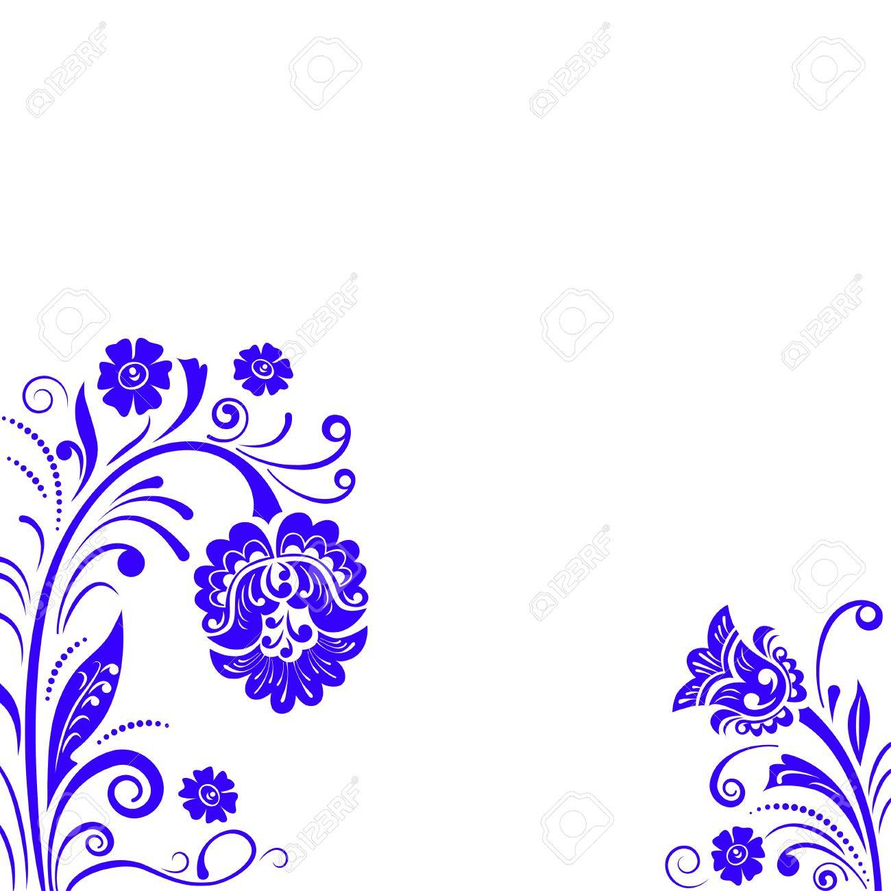 Abstract Fancy Flowers, Stencil, Decoration For Card, Window