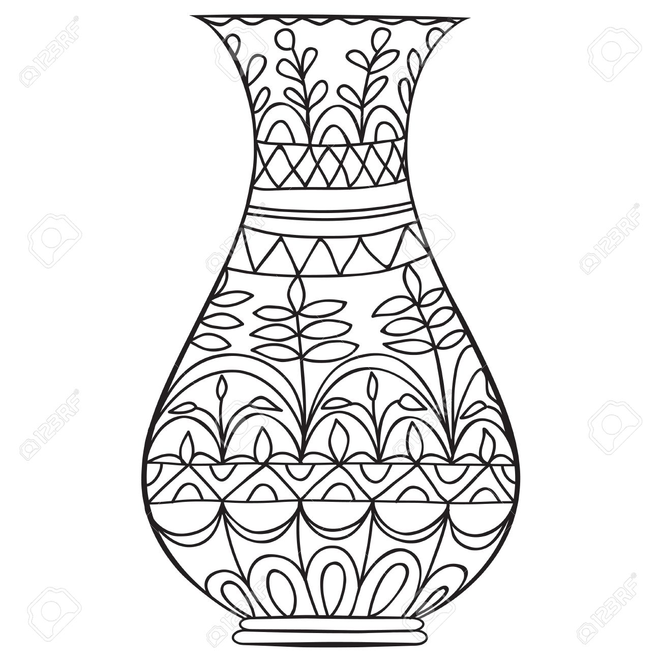Black Doodle Vase For Flowers Adult Coloring Page Stock Vector