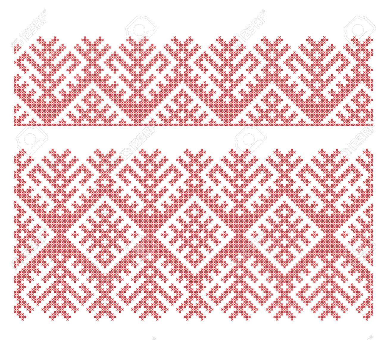 Seamless Russian folk patterns, cross-stitched embroidery imitation