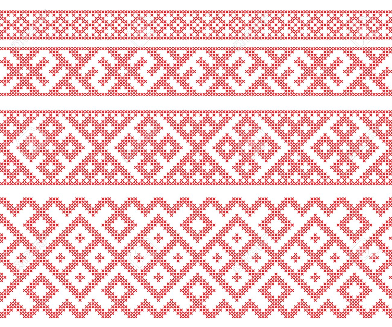 Seamless Russian folk patterns, cross-stitched embroidery imitation