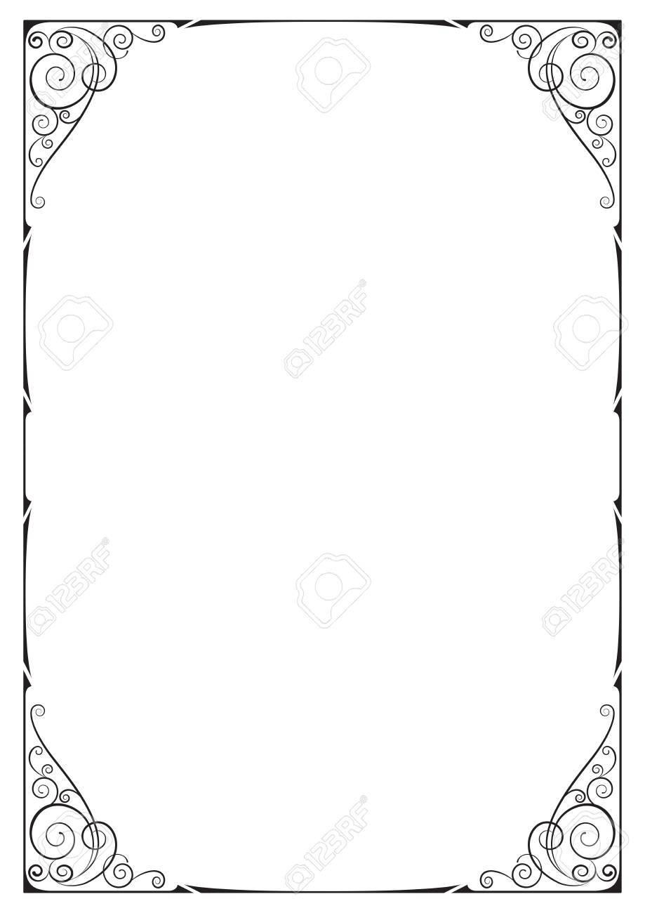 Schwarz Verzierten Rahmen, Floral Vignetten, Ecken. A4-Seitengröße ...