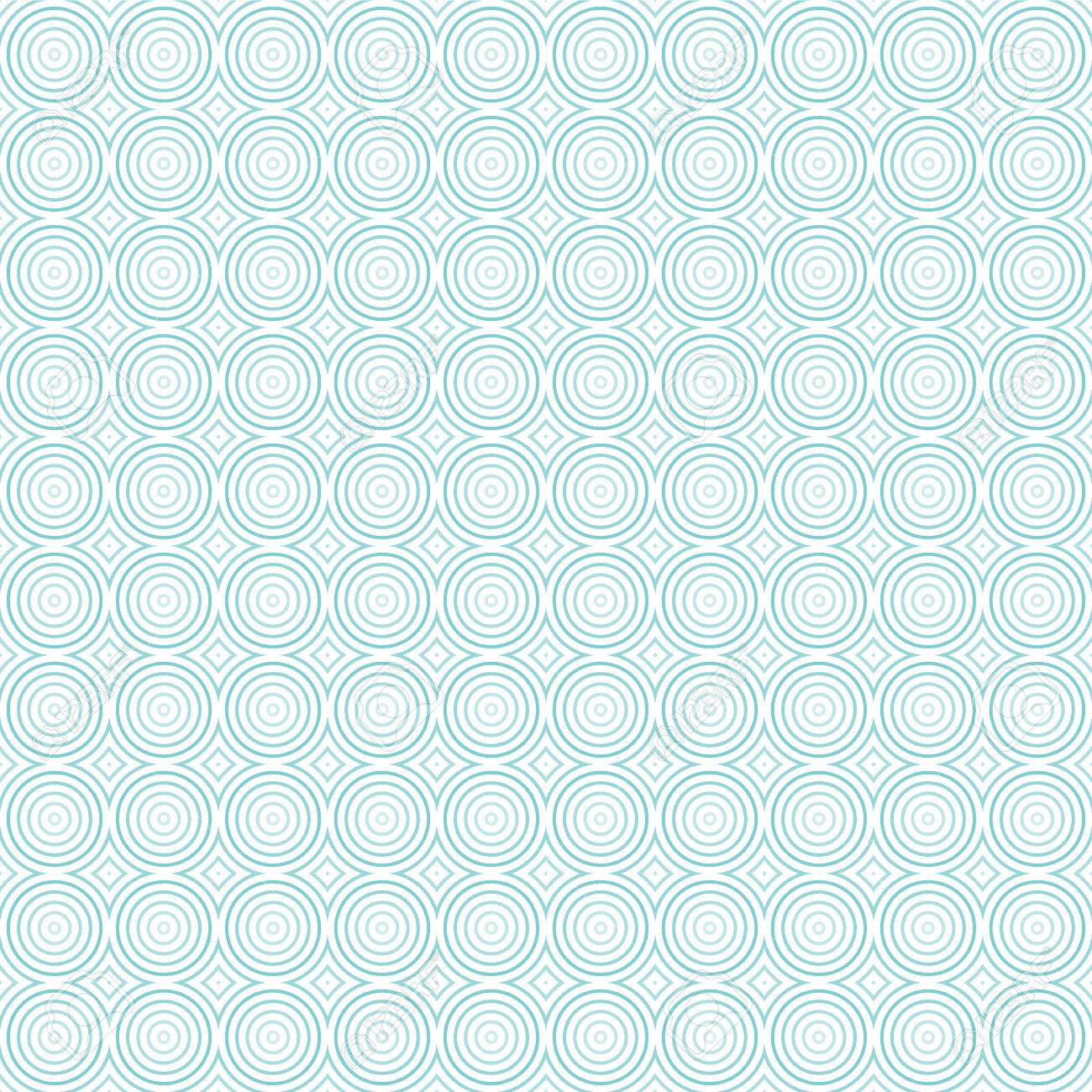 Seamless Geometric Pattern Of Concentric Circles. Shades Of Light Blue.  Transparent Background. Stock